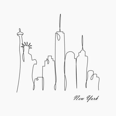 Наклейка Горизонт Нью-Йорка с статуей свободы, США, иллюстрацией вектора.