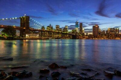 Наклейка Нью-Йорк Закат Пейзаж с Бруклинский мост, США