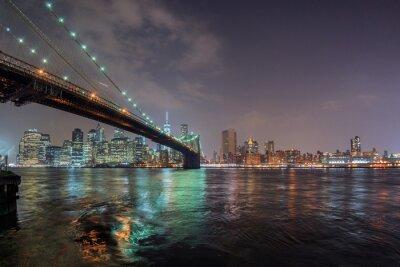 Наклейка новый вид йорк ночь из Бруклина