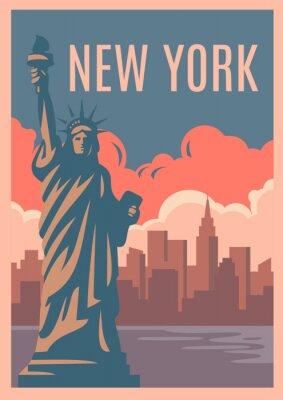 Наклейка Нью-Йоркский ретро-плакат.
