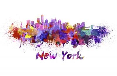 Наклейка New York skyline in watercolor