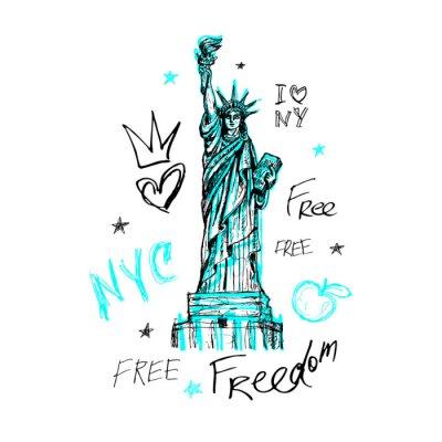 Наклейка Нью-Йорк, дизайн футболки, плакат, печать, надпись Статуя Свободы, карта, графика футболки, модный, сухой мазок кисти, маркер, цветная ручка, тушь, акварель. Ручной обращается векторные иллюстрации.