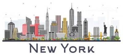 Наклейка Нью-Йорк США горизонты с серыми небоскребами, изолированных на белом фоне.