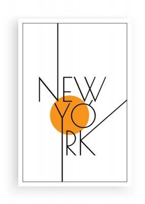 Наклейка New York, vector. Scandinavian art design. Minimalist poster design. Wall art work, wall decoration. Wording design, lettering