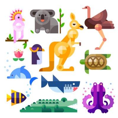 Наклейка Ницца квартира австралийские животные: Какаду, кенгуру, попугаев, коала, эму, страус, дельфин, пингвин, черепаха, акула, рыба-клоун, крокодил, осьминогов. Квартира векторные иллюстрации набор.