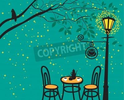 Наклейка ночной пейзаж с ночным кафе в уличных фонарей