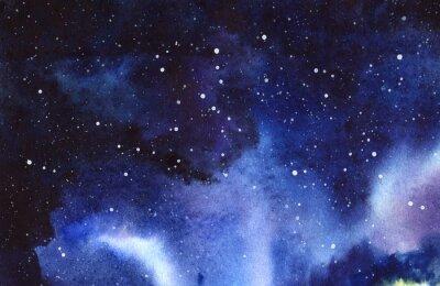 Наклейка Ночное звездное небо. Рука обращается на мокрой бумаге настоящая акварель Иллюстрация.