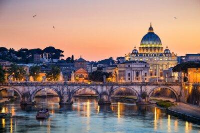 Наклейка Ночной вид на базилику Святого Петра в Риме, Италия