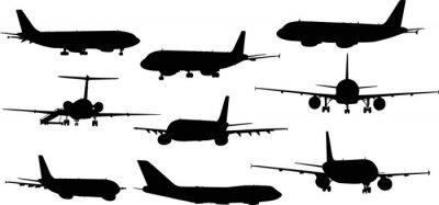 Наклейка девять самолетов силуэты на белом