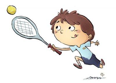 Наклейка niño Jugando тенис