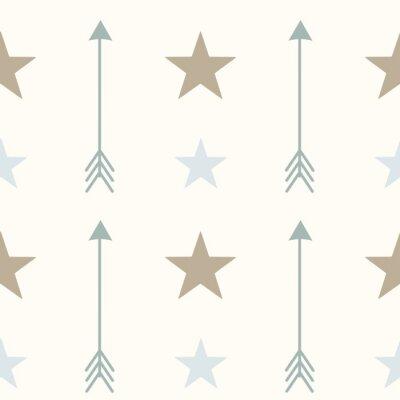 Наклейка Скандинавские цвета в стиле стрелки и звезды бесшовные модели вектор фона иллюстрации