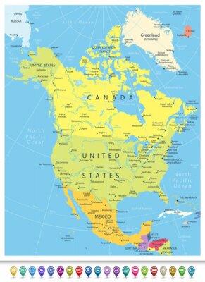 Наклейка Северная Америка Подробная политическая карта с системой навигации Иконки