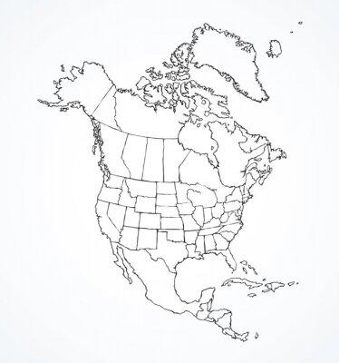 Наклейка Североамериканский континент с контурами стран. Векторный рисунок