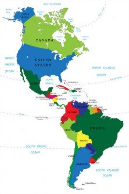 Наклейка Северная и Южная Америка карту