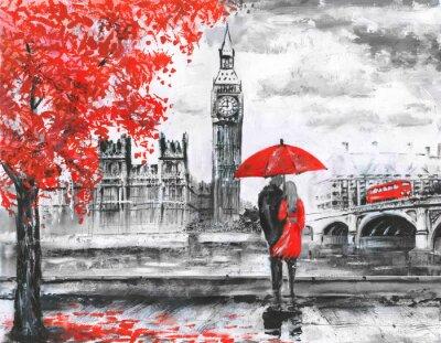 Наклейка .oil живописи на холсте, просмотр улиц Лондона, реки и автобус на мосту. Произведение. Биг Бен. мужчина и женщина под красным зонтиком
