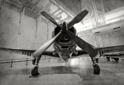 Наклейка Старый самолет в ангаре