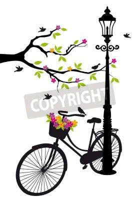 Наклейка старый велосипед с лампой, цветы и деревья