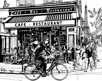 Наклейка Old cafe in Paris