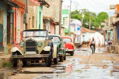 Наклейка Старый кабриолет автомобиль на улице Тринидад, Куба