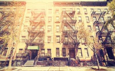 Наклейка Старый фильм в стиле ретро фото улице в Нью-Йорке, США.