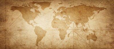 Наклейка Старая карта мира на фоне старых пергамент. Винтажный стиль. Элементы этого изображения предоставлены НАСА.