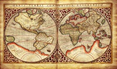 Наклейка Старая карта мира, напечатанной в 1587 году