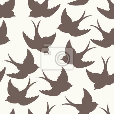 Наклейка старая школа узор с птицами и письма