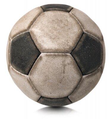 Наклейка Старый футбольный мяч, изолированных на белом / Деталь старого черно-белый футбольный мяч на белом фоне