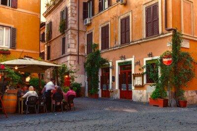 Наклейка Старая улица в Трастевере в Риме, Италия