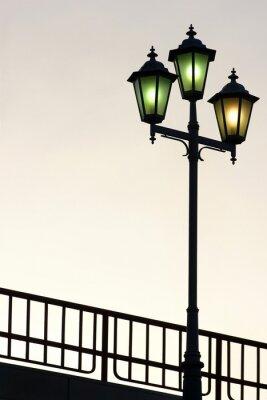 Наклейка Старая улица фонарный столб в сумерках фоне