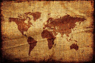 Наклейка Старая карта мира по hesian мешок текстуры