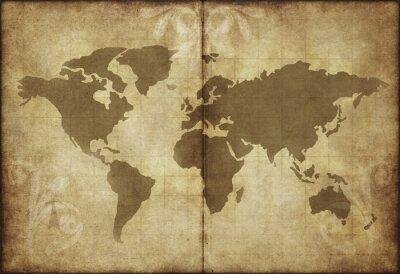 Наклейка старый карта мира пергаментной бумагой