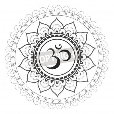 Наклейка Ом, Аум символ санскритского с мандалы орнаментом