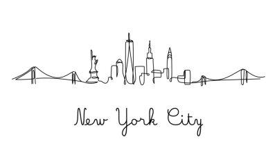 Наклейка One line style New York City skyline. Simple modern minimaistic style vector.