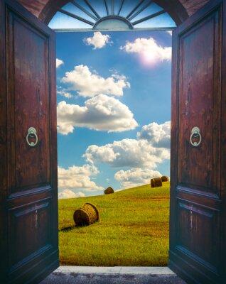 Наклейка Откройте дверь и пейзаж