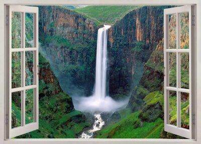 Наклейка Открыть windoq панорамное vuew до водопадов Игуасу, Бразилия