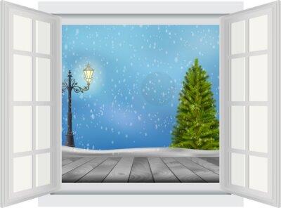 Наклейка Открыть окно рождественской елки и фонарный столб на фоне зимы