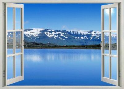 Наклейка Откройте окно панорамный вид на заснеженные горы и озеро