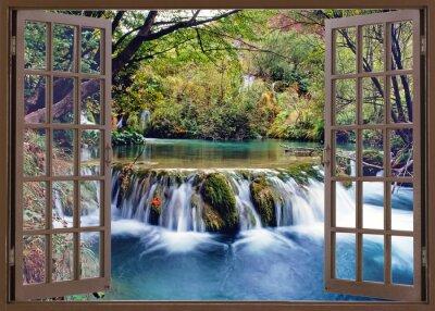 Наклейка Открыть окно в потоке воды