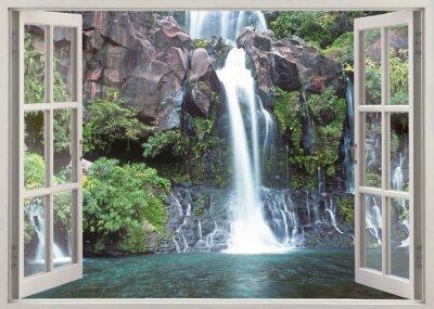 Наклейка Open window view to Cormoran waterfall, Reunion island