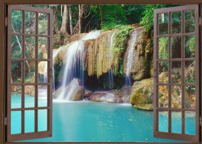 Наклейка Открыть окно просмотра для глубокого водопада джунглей