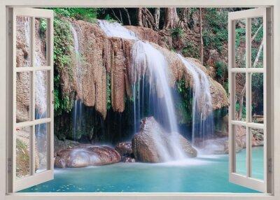 Наклейка Открыть окно просмотра в Erawan Falls, Таиланд