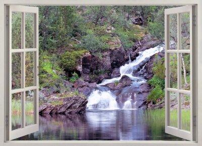 Наклейка Open window view to mountain waterfall and pond