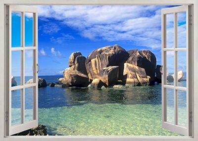 Наклейка Open window view to shore of Seychelles
