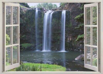 Наклейка Открытый вид окно Whangarei Falls, Northland (Северная Исландия), Новой Зеландии