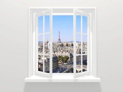 Наклейка Откроется окно и вид на Эйфелеву башню, Париж