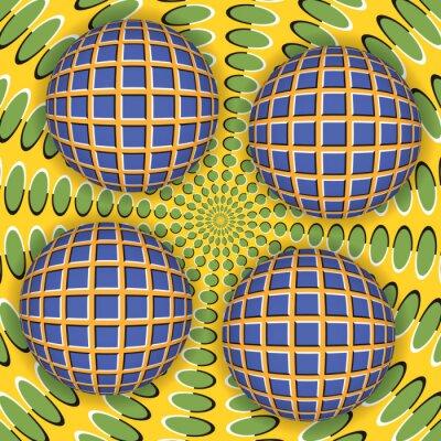 Наклейка Оптическая иллюзия вращения четырех мяч вокруг движущейся поверхности. Абстрактный фон.