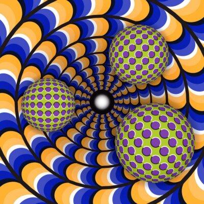 Наклейка Оптическая иллюзия вращения шара вокруг трех движущегося отверстия. Абстрактный фон.