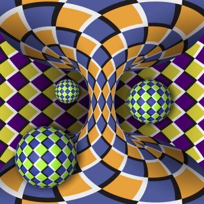 Наклейка Оптическая иллюзия вращения трех шаров вокруг движущегося гиперболоида. Абстрактный фон.