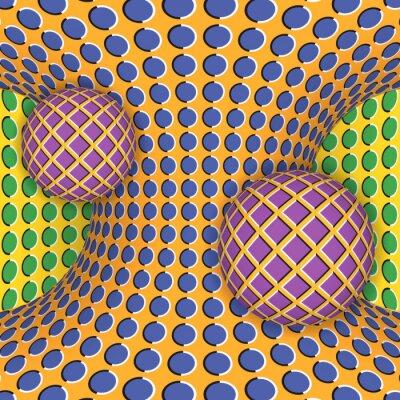 Наклейка Оптическая иллюзия вращения двух шаров вокруг движущегося гиперболоида. Абстрактный фон.